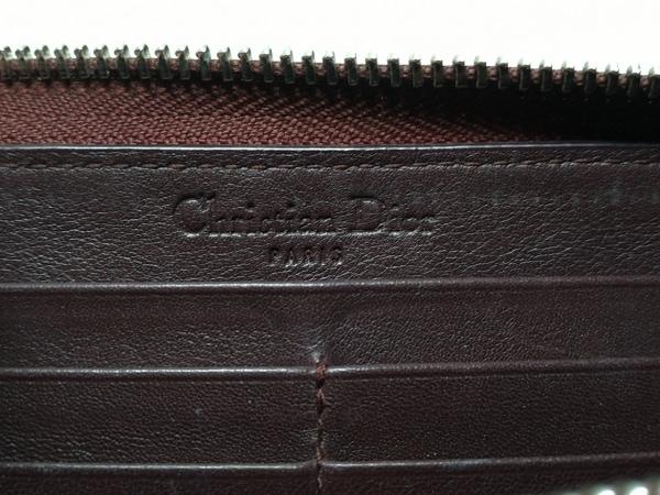 クリスチャンディオール 長財布 ロゴグラム ボルドー 型押し加工 5
