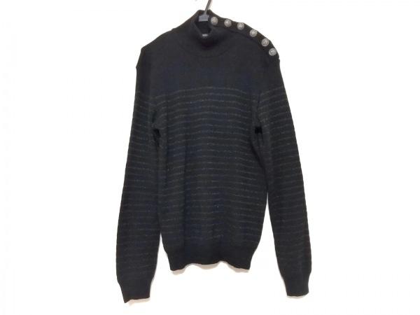 バルマン 長袖セーター サイズM メンズ - 黒 ハイネック/ボーダー 1