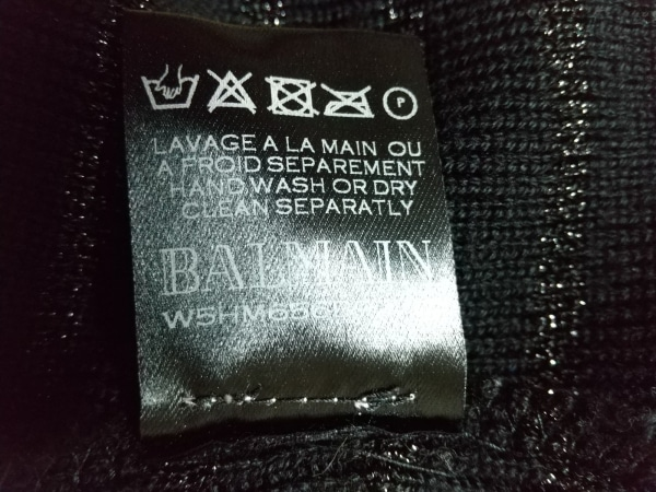 バルマン 長袖セーター サイズM メンズ - 黒 ハイネック/ボーダー 6