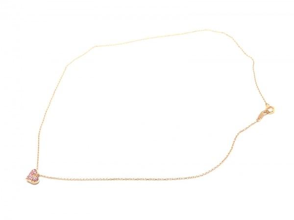 スタージュエリー ネックレス K18PG×カラーストーン ピンク ハート 2