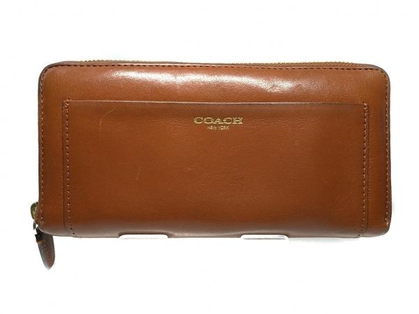 COACH(コーチ) 長財布 - ブラウン ラウンドファスナー レザー 1