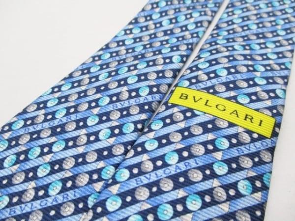 BVLGARI(ブルガリ) ネクタイ メンズ新品同様  ブルー×黒×マルチ 5