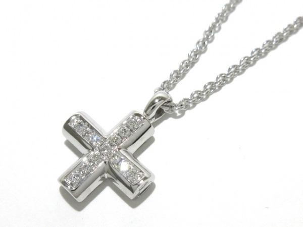 ブルガリ ネックレス美品  グリーククロス K18WG×ダイヤモンド 1