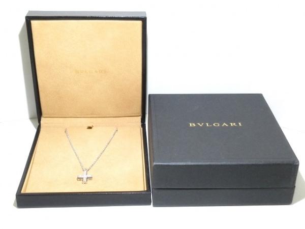 ブルガリ ネックレス美品  グリーククロス K18WG×ダイヤモンド 8