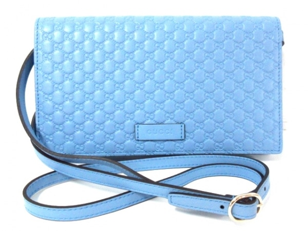 グッチ 財布美品  マイクロ グッチシマ 466507 ライトブルー レザー 1