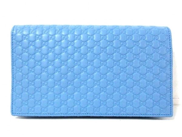グッチ 財布美品  マイクロ グッチシマ 466507 ライトブルー レザー 2