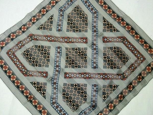 イヴサンローラン スカーフ 黒×白×ダークブラウン×マルチ 1