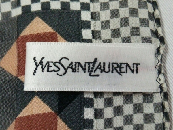 イヴサンローラン スカーフ 黒×白×ダークブラウン×マルチ 2