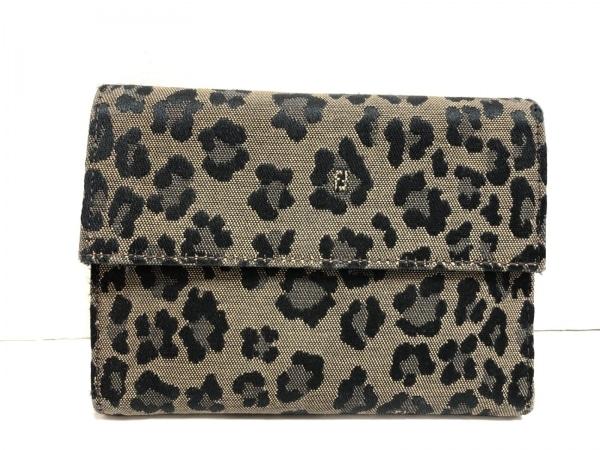 フェンディ 3つ折り財布 - 8M0001 ベージュ×黒 豹柄 ジャガード 1