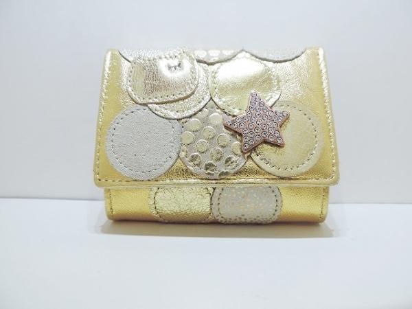 ツモリチサトキャリー 3つ折り財布美品  ゴールド レザー 1