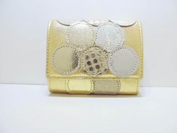 ツモリチサトキャリー 3つ折り財布美品  ゴールド レザー 2
