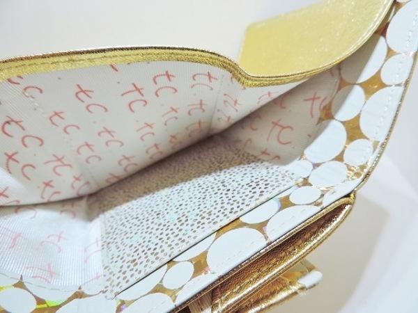 ツモリチサトキャリー 3つ折り財布美品  ゴールド レザー 6