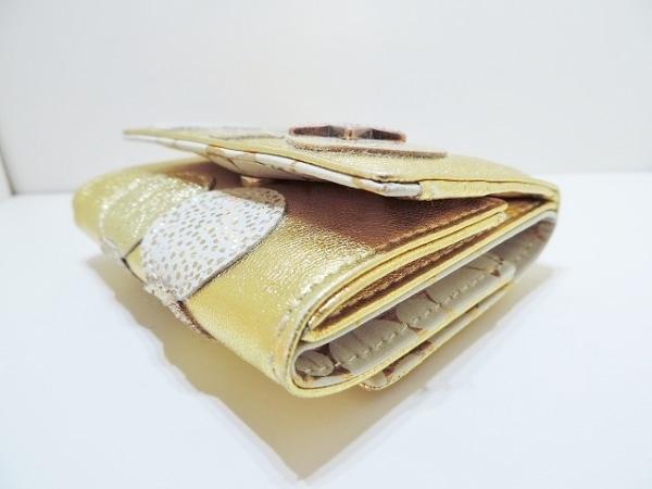 ツモリチサトキャリー 3つ折り財布美品  ゴールド レザー 7