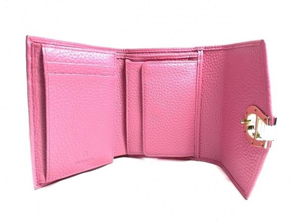 AIGNER(アイグナー) 3つ折り財布 ピンク×レッド ハート レザー 3