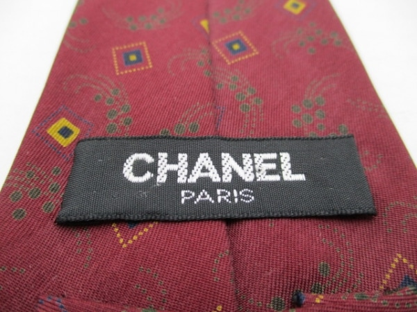 CHANEL(シャネル) ネクタイ メンズ美品  ボルドー×ベージュ×マルチ 3