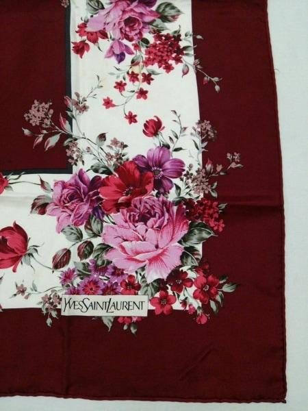 イヴサンローラン スカーフ美品  ボルドー×マルチ 花柄 4