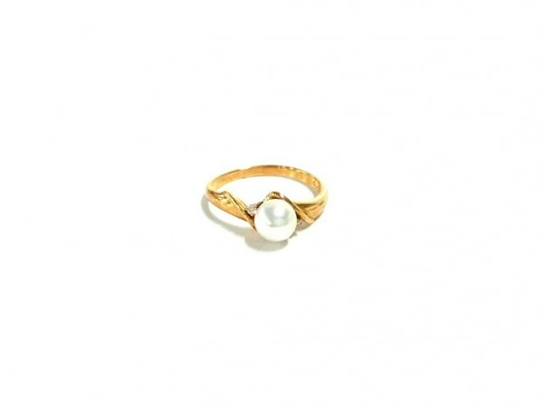 ノーブランド リング美品  K18×ダイヤモンド×パール 白 1