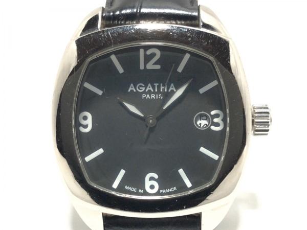 アガタ 腕時計 860100.2-C03 レディース 革ベルト/型押し加工 黒 1