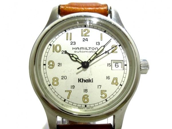 ハミルトン 腕時計 カーキ 9721A メンズ 革ベルト/裏スケ シルバー 1