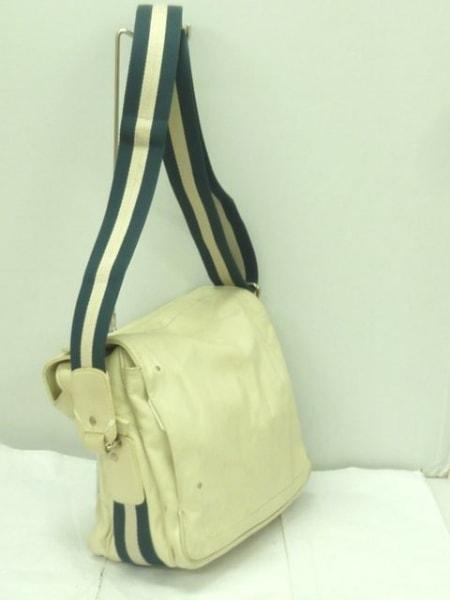 バリー ショルダーバッグ美品  白×ネイビー レザー×コットン 2