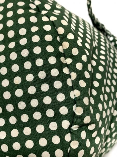 ピンクハウス ハンドバッグ - ダークグリーン×白 ドット柄/リボン 5
