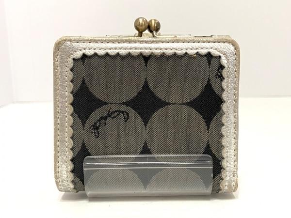 ANNA SUI(アナスイ) 3つ折り財布 黒×ダークグレー×シルバー がま口 2