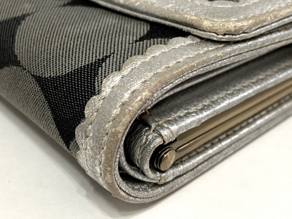 ANNA SUI(アナスイ) 3つ折り財布 黒×ダークグレー×シルバー がま口 6