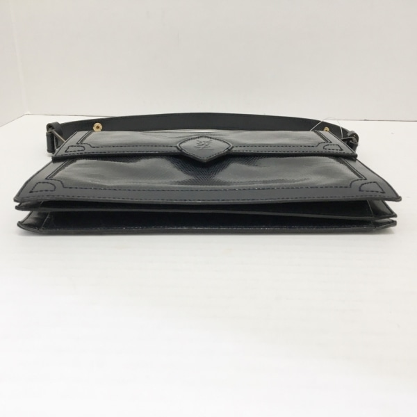イヴサンローラン - 黒 型押し加工 エナメル(レザー)×レザー 4