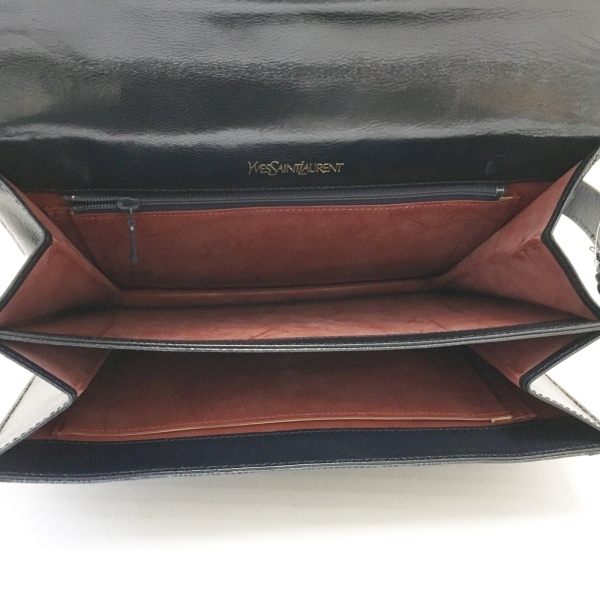 イヴサンローラン - 黒 型押し加工 エナメル(レザー)×レザー 7