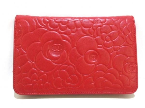 CHANEL(シャネル) 財布 カメリア A47421 レッド ラムスキン 2