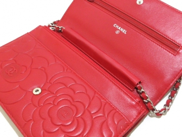 CHANEL(シャネル) 財布 カメリア A47421 レッド ラムスキン 3