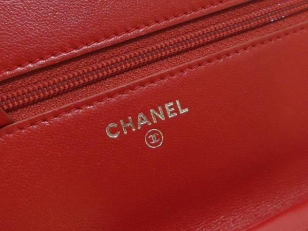 CHANEL(シャネル) 財布 カメリア A47421 レッド ラムスキン 5