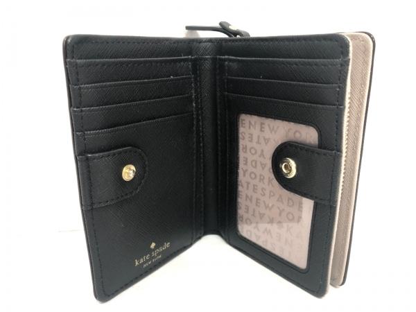 ケイトスペード 2つ折り財布 - WLRU2664 ピンクベージュ×黒 レザー 3