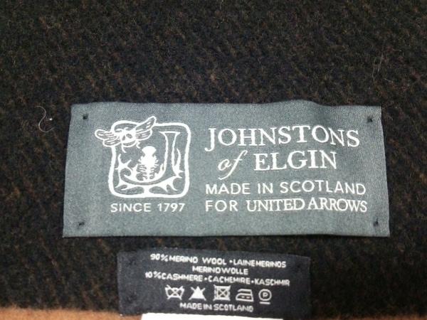 ジョンストンズ ブランケット美品  ブラウン×黒 ウール×カシミヤ 2