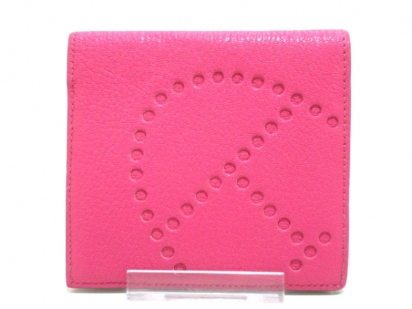 エルメス 札入れ美品  エブリンコンパクト ピンク イニシャル刻印 1