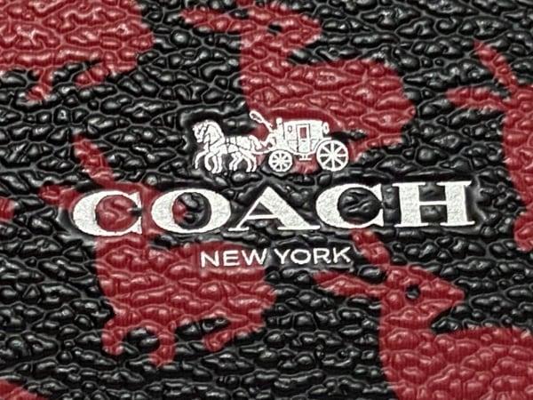 コーチ パスケース - 黒×レッド×ピンク PVC(塩化ビニール)×レザー 3