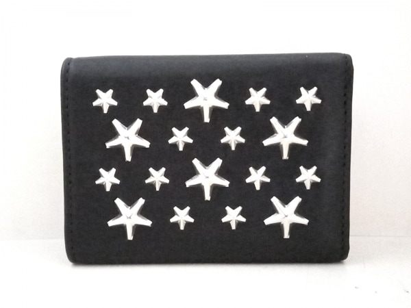 ジミーチュウ 3つ折り財布美品  ネモ 黒×シルバー レザー 2