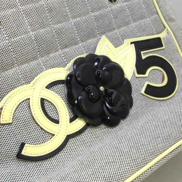 シャネル トートバッグ カメリア,No5,チョコバー アイボリー×黒 8