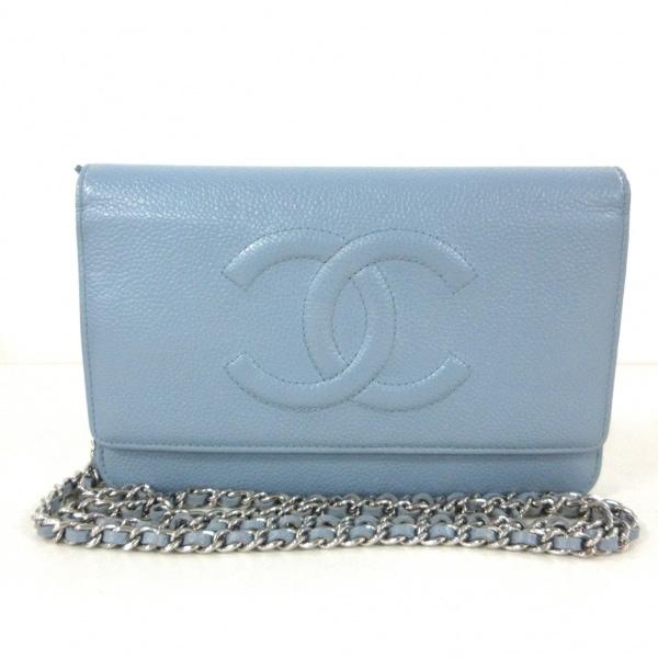 CHANEL(シャネル) 財布 - A48654 ライトブルー キャビアスキン 1