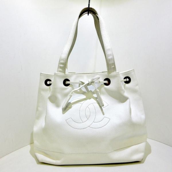 CHANEL(シャネル) トートバッグ - 白 巾着型 キャビアスキン 1