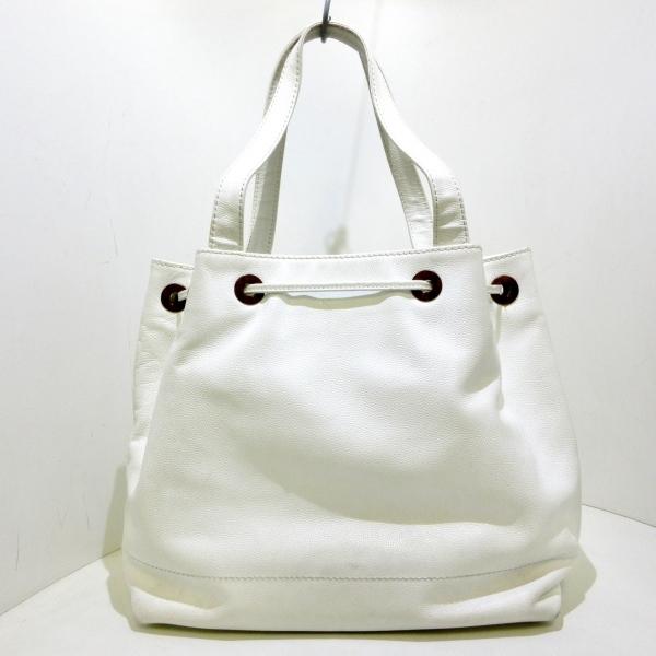 CHANEL(シャネル) トートバッグ - 白 巾着型 キャビアスキン 3