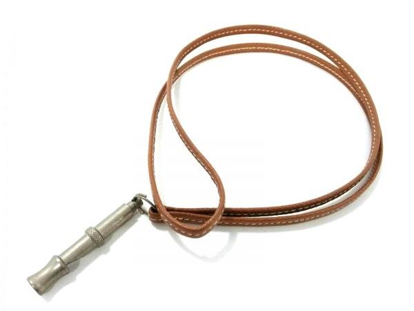 HERMES(エルメス) 小物 - ブラウン×シルバー 犬笛 レザー×金属素材 2