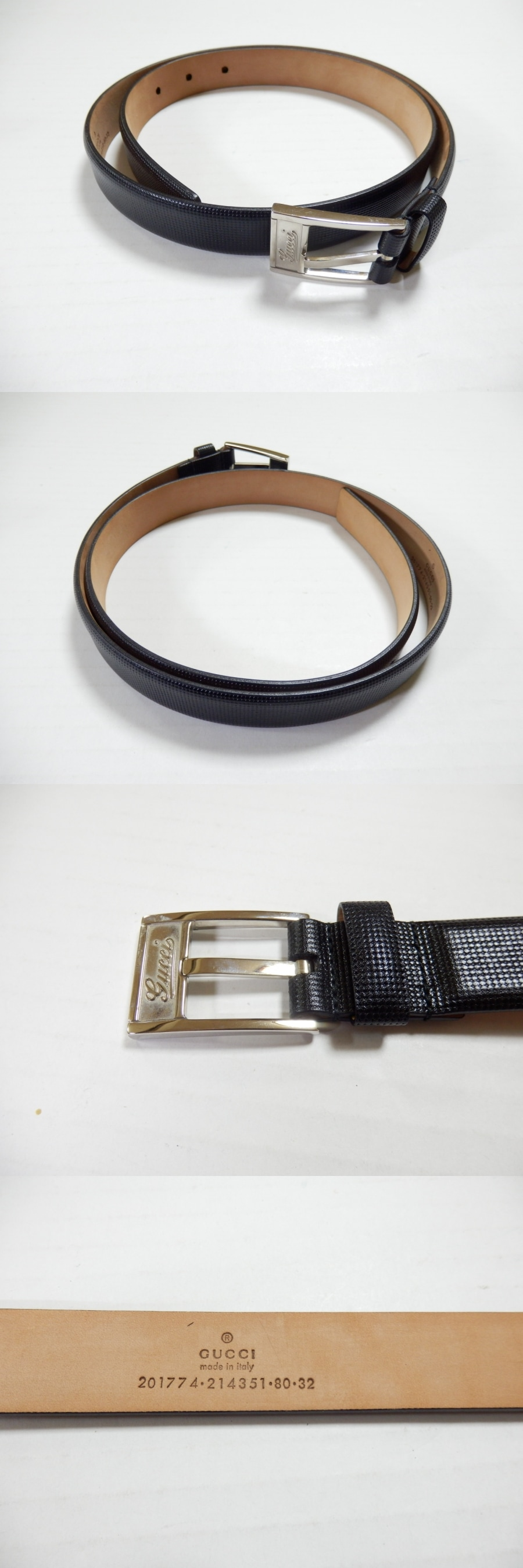 75f9cdf06 Gucci GUCCI belt 80/32 leather black 214351 -: Real Yahoo auction ...